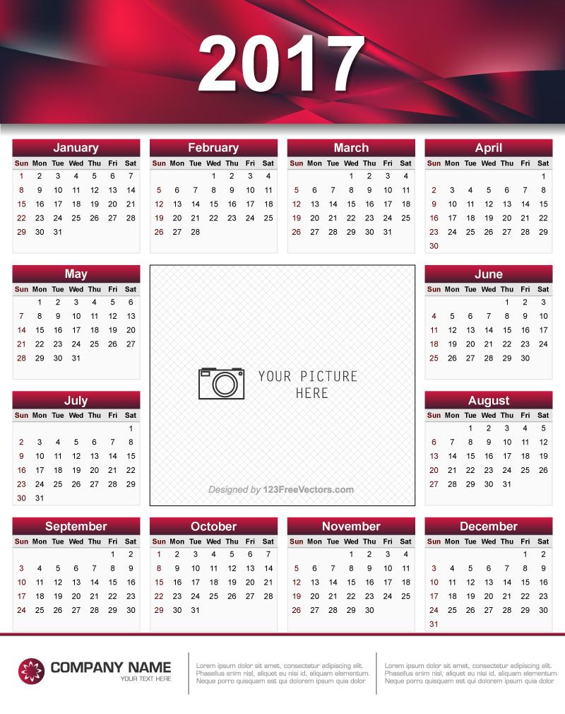 Printable 2017 calendar design 123freevectors for Architecture 2017